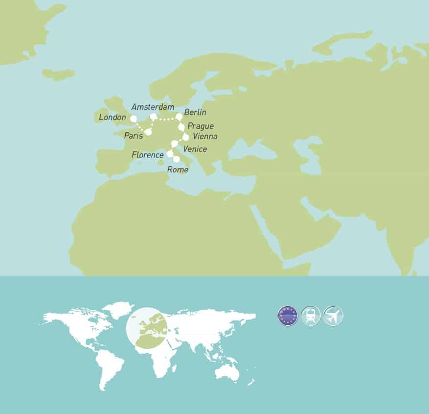 Classic European Capitals MAP - Maher Tours